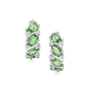 Tsavorite Garnet & White Zircon Sterling Silver Earrings ATGW 2.16cts
