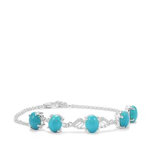 Sleeping Beauty Turquoise Bracelet with White Topaz in Sterling Silver 8.09cts