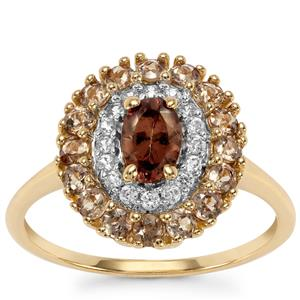 Tsivory Color Change Garnet Ring with White Zircon in 10k Gold 1.53cts