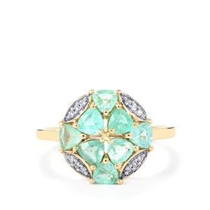 Paraiba Tourmaline Ring with Diamond in 10K Gold 1.30cts