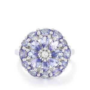 Tanzanite & White Topaz Sterling Silver Ring ATGW 3.24cts
