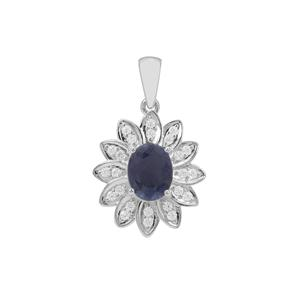 Bharat Sapphire Pendant with White Topaz in Sterling Silver 3.11cts