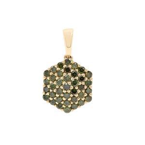 Green Diamond Pendant in 9K Gold 0.75ct