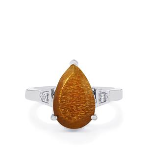 Shinyanga Sunstone Ring with White Topaz in Sterling Silver 3.90cts