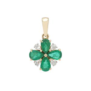 Zambian Emerald Pendant with White Zircon in 9K Gold 1.90cts