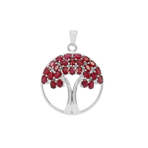 6.58ct Malagasy Ruby Sterling Silver Tree of Life Pendant(F)