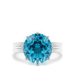 Swiss Blue Topaz Ring in Sterling Silver 8cts