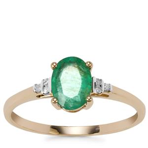 Bahia Emerald Ring with Diamond in 9K Gold 0.97ct