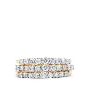 1ct Diamond 18K Gold Lorique Set of 3 Stacker Rings