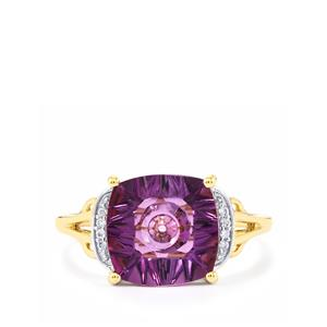 Lehrer QuasarCut Ametista Amethyst Ring with Diamond in 10k Gold 3.33cts