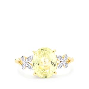 Canary Kunzite Ring with Diamond in 10K Gold 3.29cts
