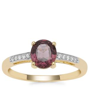 Burmese Purple Spinel Ring with White Zircon in 9K Gold 1.17cts