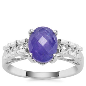 AA Tanzanite Ring with White Zircon in 9K White Gold 2.88cts