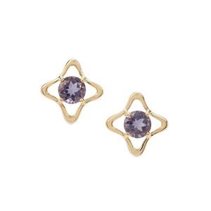 1.58ct Montezuma Blue Quartz 9K Gold Earrings