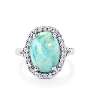 Larimar & White Topaz Sterling Silver Ring ATGW 7.23cts