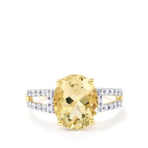 Serenite & White Zircon 10K Gold Ring ATGW 3.49cts