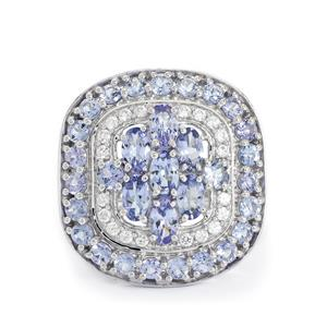 AA Tanzanite & White Zircon Sterling Silver Ring ATGW 4.31cts