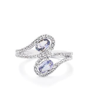 Bi-Colour Tanzanite Ring with White Topaz in Sterling Silver 1.58cts
