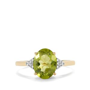 Changbai Peridot Ring with White Zircon in 10K Gold 2.70cts