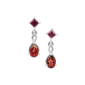 Rajasthan Garnet Earrings with Rhodolite Garnet in Sterling Silver 1.45cts
