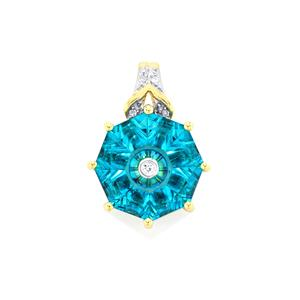 Lehrer TorusRing Batalha Topaz Pendant with Diamond in 10K Gold 3.87cts