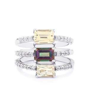 Kaleidoscope Gemstones Set of 3 Rings in Sterling Silver 3.50cts