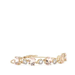 Alto Ligonha Morganite Bracelet with Diamond in 10k Gold 8.14cts