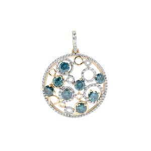 Blue Diamond Pendant in 9K Gold 1.71cts
