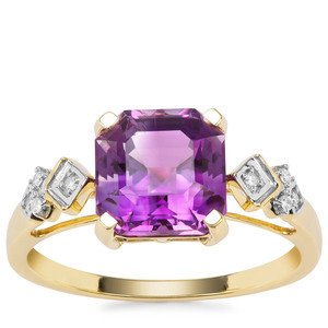 Asscher Cut Moroccan Amethyst Ring with Diamond in 9K Gold 2.63cts