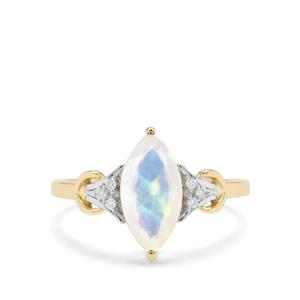 Kelayi Opal Ring with Diamond in 9K Gold 1.12cts