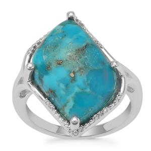 Bonita Blue Turquoise Ring With White Zircon in Sterling Silver 8.97cts