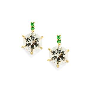 White Quartz Polaris Earrings with Tsavorite Garnet in 10K Gold 3.23cts
