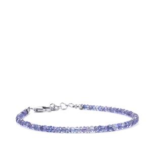 Tanzanite Graduated Bead Bracelet in Sterling Silver 16cts