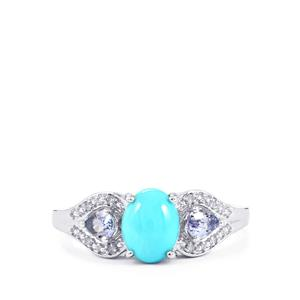 Sleeping Beauty Turquoise, AA Tanzanite Ring with Diamond in Sterling Silver 1.39cts