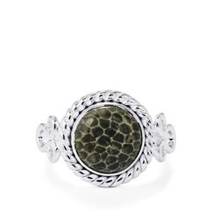 Black Coral Ring in Sterling Silver 3.61cts