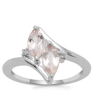 Alto Ligonha Morganite Ring with White Zircon in Sterling Silver 1.04cts
