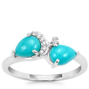 Sleeping Beauty Turquoise Ring with White Zircon in Sterling Silver 1.33cts