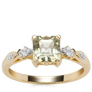 Asscher Cut Csarite® Ring with Diamond in 10k Gold 1.29cts