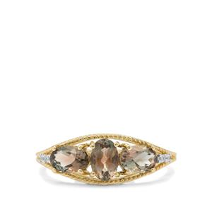 Teal Oregon Sunstone Ring with White Zircon in 9K Gold 1.35cts