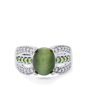 Cat's Eye, Chrome Diopside & White Topaz Sterling Silver Ring ATGW 3.76cts
