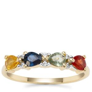 Songea Rainbow Sapphire Ring with White Zircon in 9K Gold 1.13cts