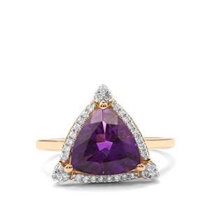 Moroccan Amethyst Ring with Diamond in 18K Gold 2.72cts