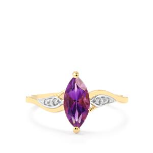 Moroccan Amethyst & Diamond 9K Gold Ring ATGW 1.04cts
