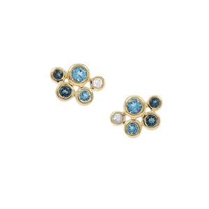 London Blue Topaz Earrings with Swiss Blue Topaz & White Zircon in Gold Plated Sterling Silver 1.54cts