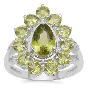 Changbai Peridot Ring with White Zircon in Sterling Silver 3.75cts