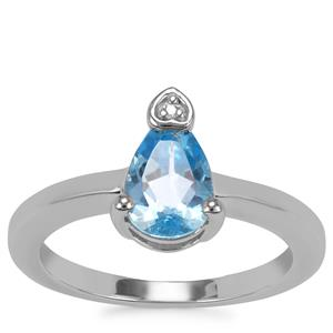 Swiss Blue Topaz Ring with White Zircon in Sterling Silver 1.49cts