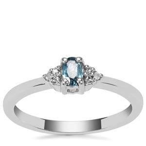 Ratanakiri Blue Zircon Ring with Diamond in Sterling Silver 0.29cts