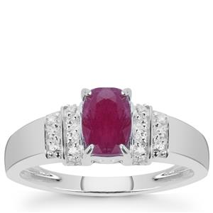 Luc Yen Ruby Ring with White Zircon in Sterling Silver 1.63cts