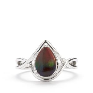 Ammolite Ring with White Zircon in Sterling Silver (10 x 7mm)