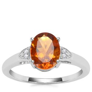 Madeira Citrine Ring with Diamond in Sterling Silver 1.45cts